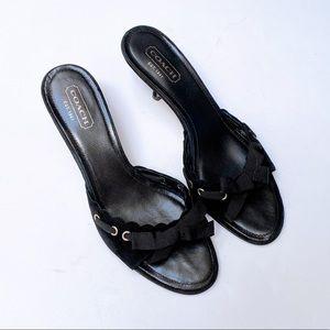 Coach Black Suede Kitten Heel Sandals US10